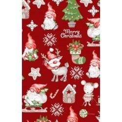 Tkanina świąteczna SKRZATY RENIFERY choinka na...