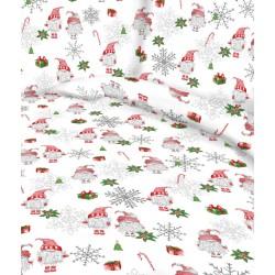Tkanina świąteczna SKRZATY wśród śnieżynek na...