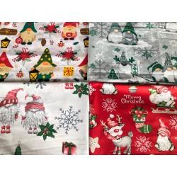 Zestaw 4 tkanin świątecznych 50x80 cm skrzaty mix
