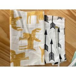Tkanina łosie łoś musztardowy na białym bawełna