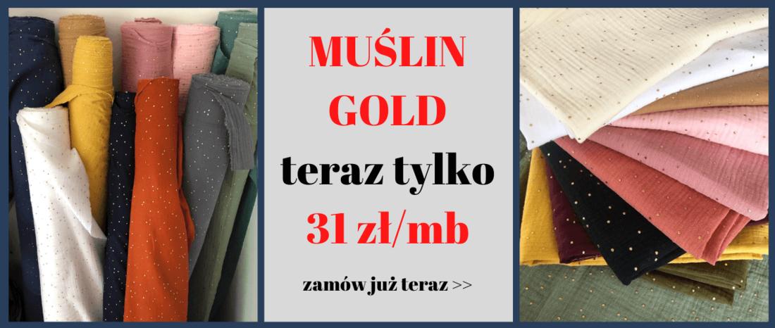 sklep z tkaninami Otula - muślin gold